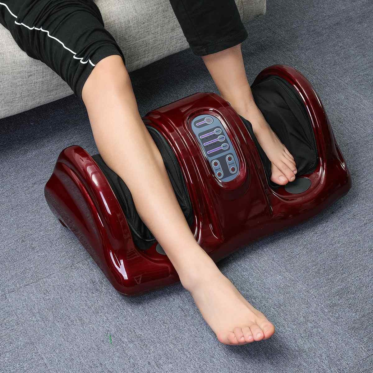 220 V Chauffage Électrique Pied Corps masseur de jambes Shiatsu Pétrissage Rouleau machine vibrateur Réflexologie Veau Jambe Soulagement de La Douleur Se Détendre