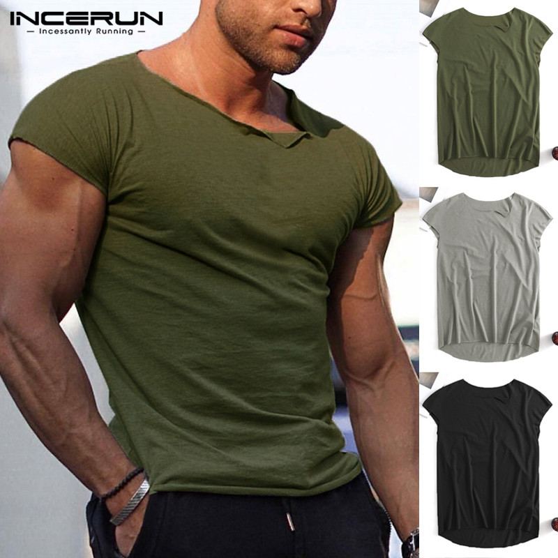 INCERUN 2019 Fashion Mens T Shirt Muscle Short Sleeve Slim Fit Solid Bodybuilding Summer Tee Tops Breathable T-shirts Men S-5XL