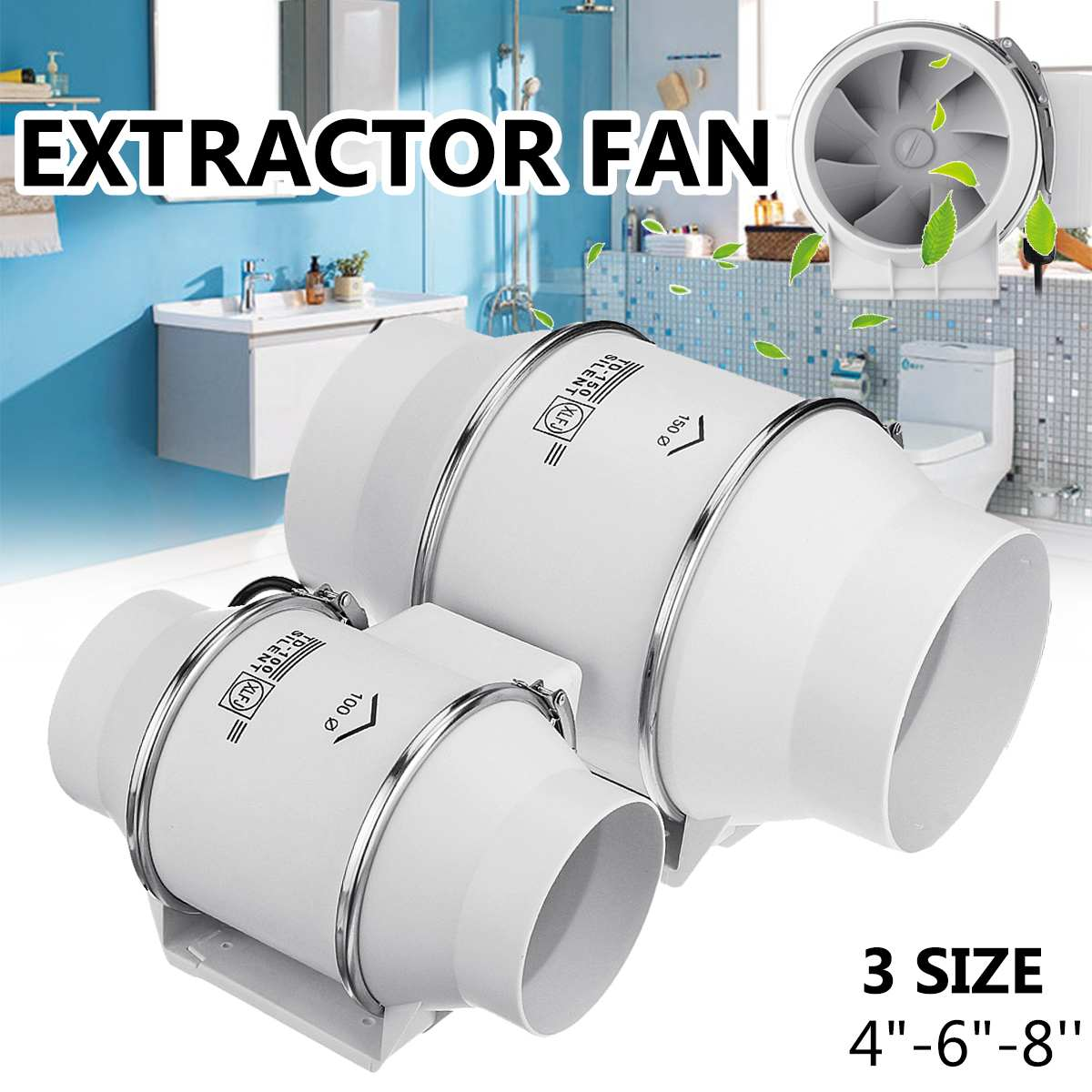 4/6/8 Inch Fan Silent Wall Extractor Exhaust Ventilation Fan Air Blower Window Ventilator Vent For Kitchen Bathrooms Bedroom