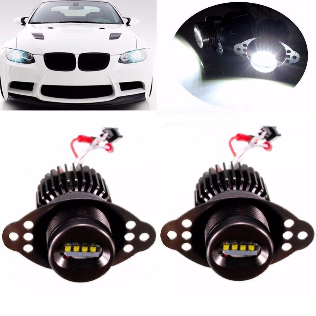 JX LCLYL 2pcs 20W LED Angel Eyes Marker Halo Ring Light Bulb For BMW E90 LCI White