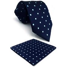 Navy Polka Dots Silk Men Neckties Set Dress Designer Wedding Fashion Pocket Square X-long