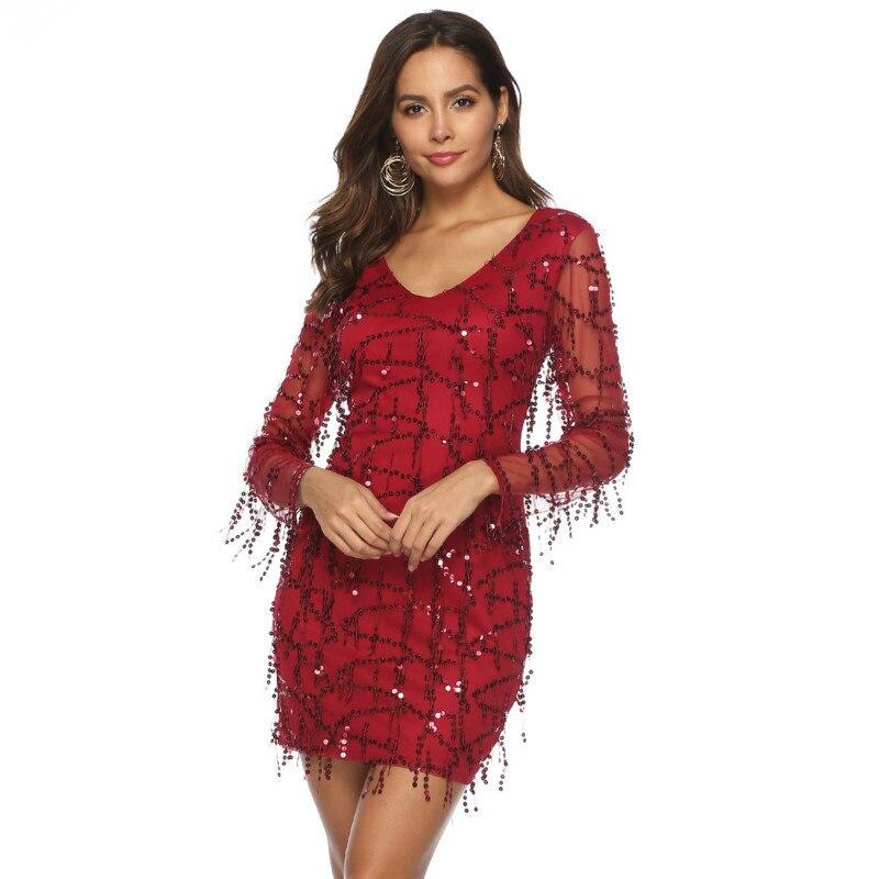 MUXU fashion red sequin dress vestidos bodycon woman clothes sexy transparent long sleeve glitter mini sukienka short dress in Dresses from Women 39 s Clothing
