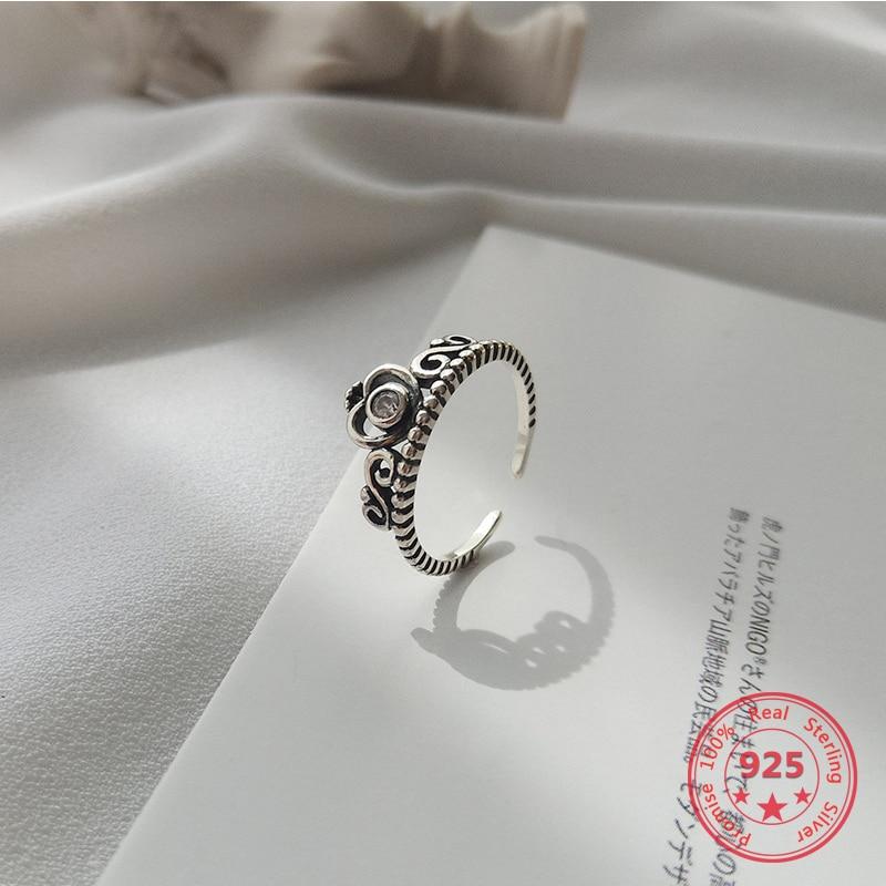Korea Hot Style 925 Sterling Silver Simple Retro Ethic Zircon Love Crown Open Ring Women Jewelry