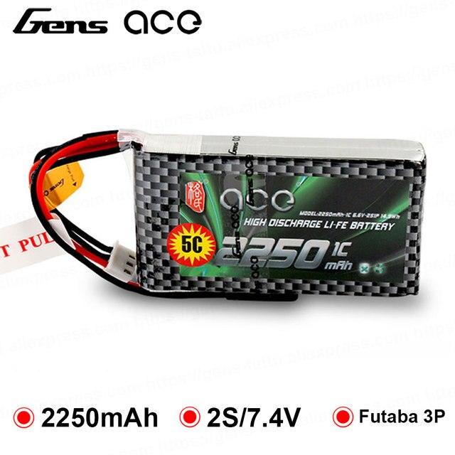 Gens ace Batería de 2250mAh 6,6 V 2S1P con enchufe BBL1 Futaba 3P para mando a distancia 14SG 4PLS T8J