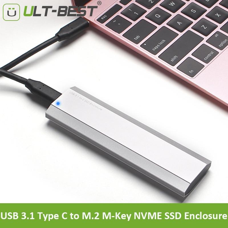 ULT Best NVMe PCIe M.2 SSD to USB 3.1 Type C Gen2 Enclosure 10Gbps External SSD Case PCI E M2 M Key Hard Drive Converter Cables
