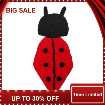 new Retail Ladybug Designs Crochet Baby Hats Photo Props Infant Costume Outfits New Born Beanies Clothes 1set