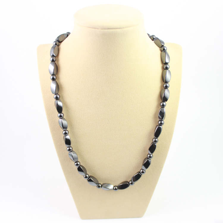 Hot sale fashion magnetic therapy magnetic hematite  beads necklace free shipping MN1000