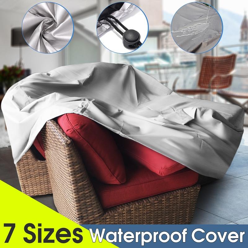 7 größen Garten Outdoor Möbel Regen Abdeckung Wasserdichte Wicker Sofa Set Schutz Garten Terrasse Strand Protector Regen Staubdicht