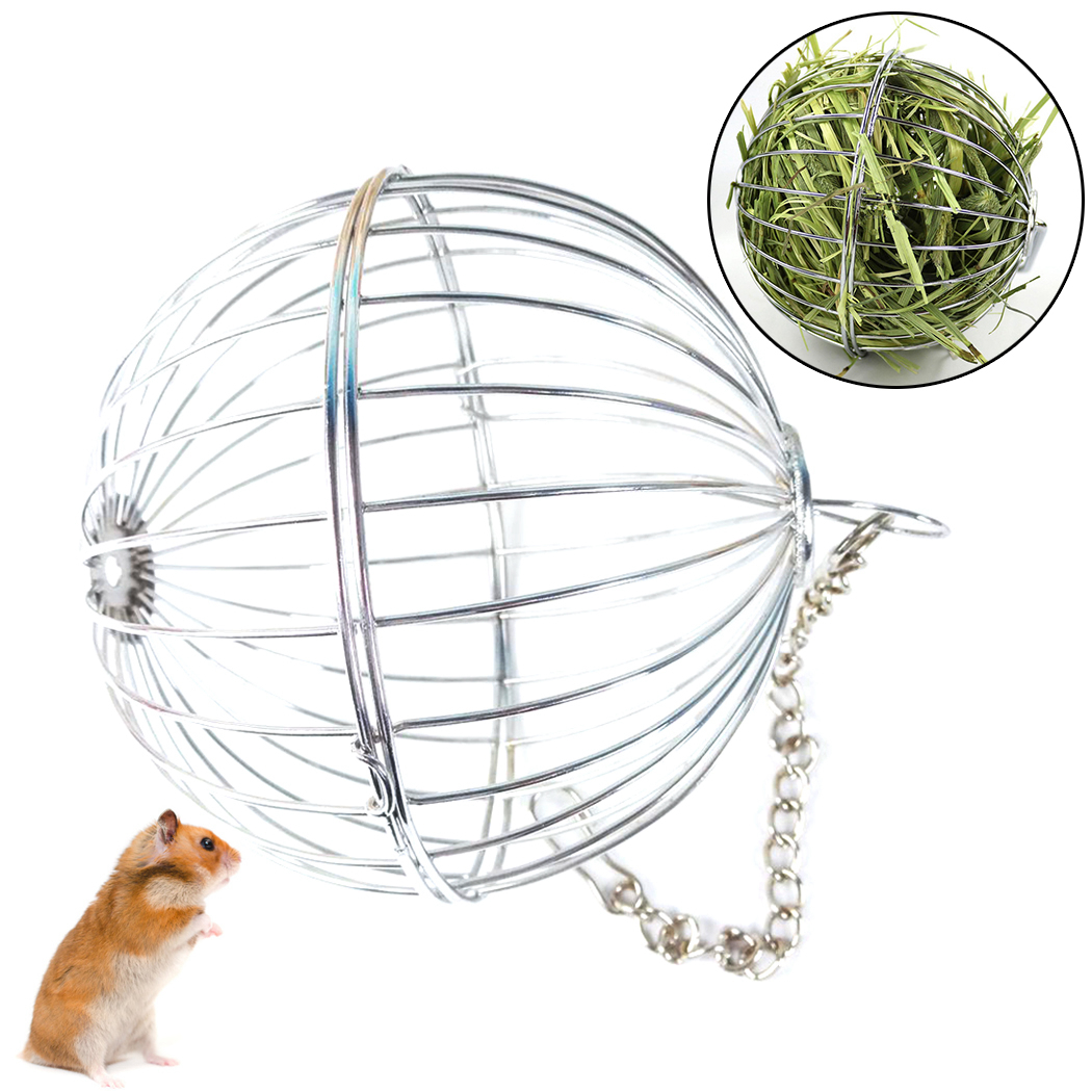 Grass Ball Pet Feeder Multipurpose Pet Hay Ball Feed Dispenser Food Manger Hanging Treat Toy For Guinea Pig Hamster