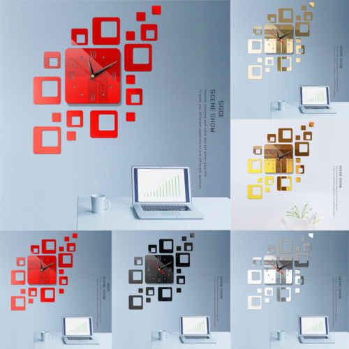 TỰ LÀM 3D Số Đồng Hồ Treo Tường Gương Sticker Dán Văn Phòng Trang Trí Nội Thất Art Sticker Thiết Kế Decal Phòng thiết kế hiện đại Im Lặng Đồng Hồ