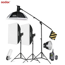 Godox SK400 3x 400W Photo Studio Flash Lighting,Softbox Light Stand Studio Boom Arm Top Light Stand godox tl 5 photo studio continuous lighting tricolor light head light stand softbox photography lighting kit