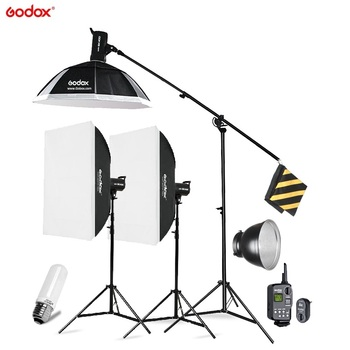 Godox SK400 3x 400W Photo Studio Flash Lighting,Softbox Light Stand Studio Boom Arm Top Light Stand