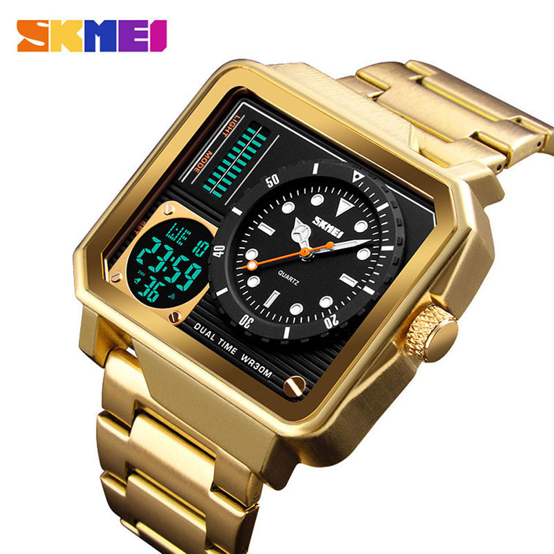 цена на SKMEI Digital/Quartz Watch Men Stainless Steel Strap Wristwatches Double Time Display Male Clock Watches Relogio Masculino 1392