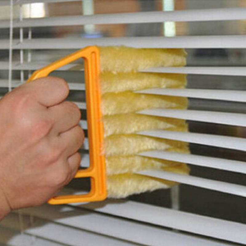 Useful Microfiber Window Cleaning Brush Air Conditioner Duster Cleaner With Washable Venetian Blind Blade Cleaning Cloth(China)