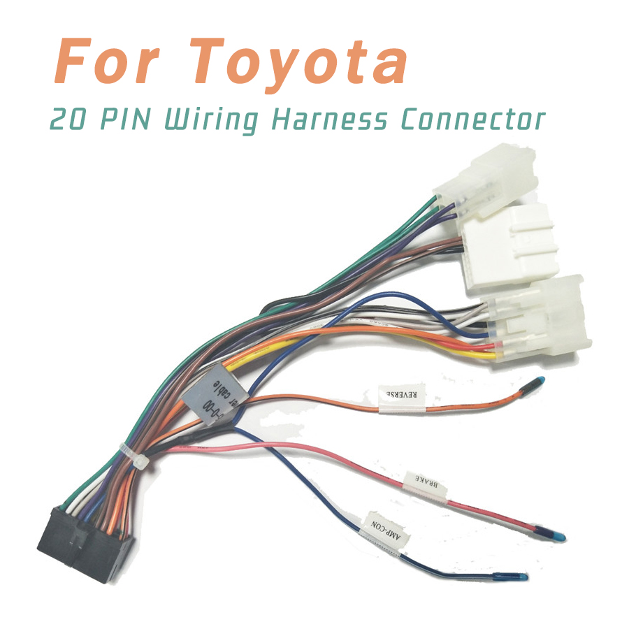 20 PIN Wiring Harness Connector Adapter 1din Or 2din Android Power Cable Harness Suitable For Toyota