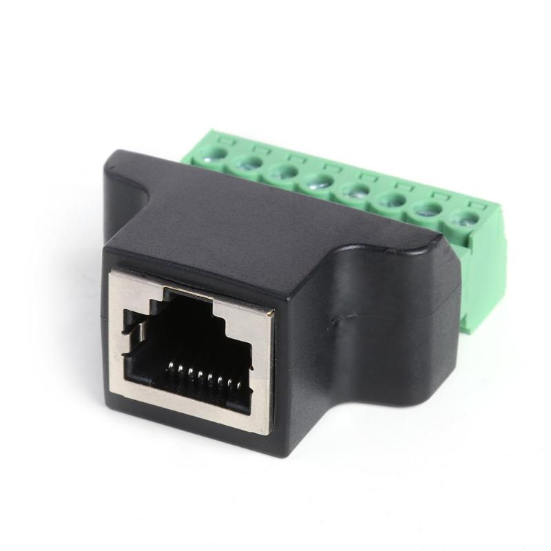 Rj45 Female To Screw Terminal 8 Pin Connector Ethernet