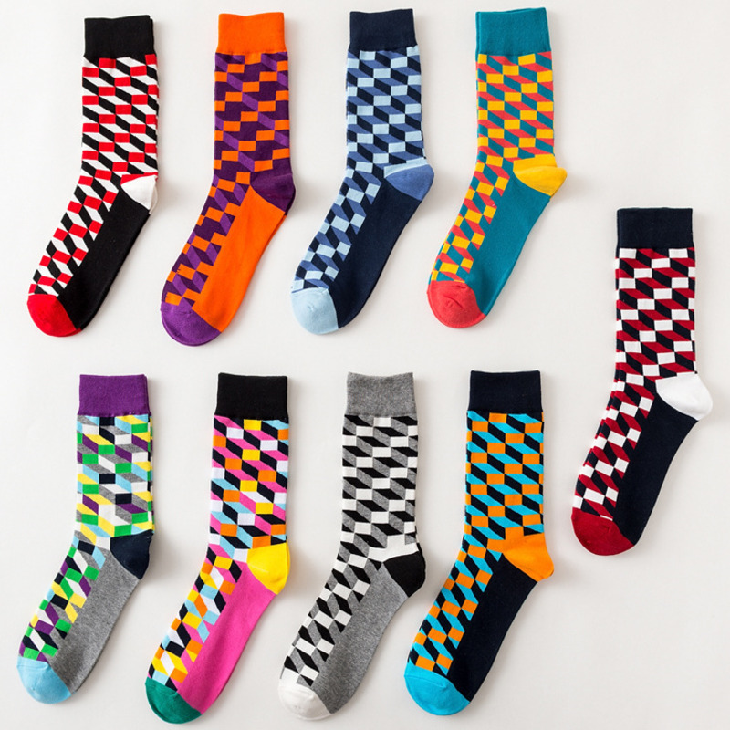 Men Socks Fashion Colorful Cotton Plaid Geometric Lattice Striped Happy Funny Harajuku Hip Hop Street Male Stitching Casual Sock
