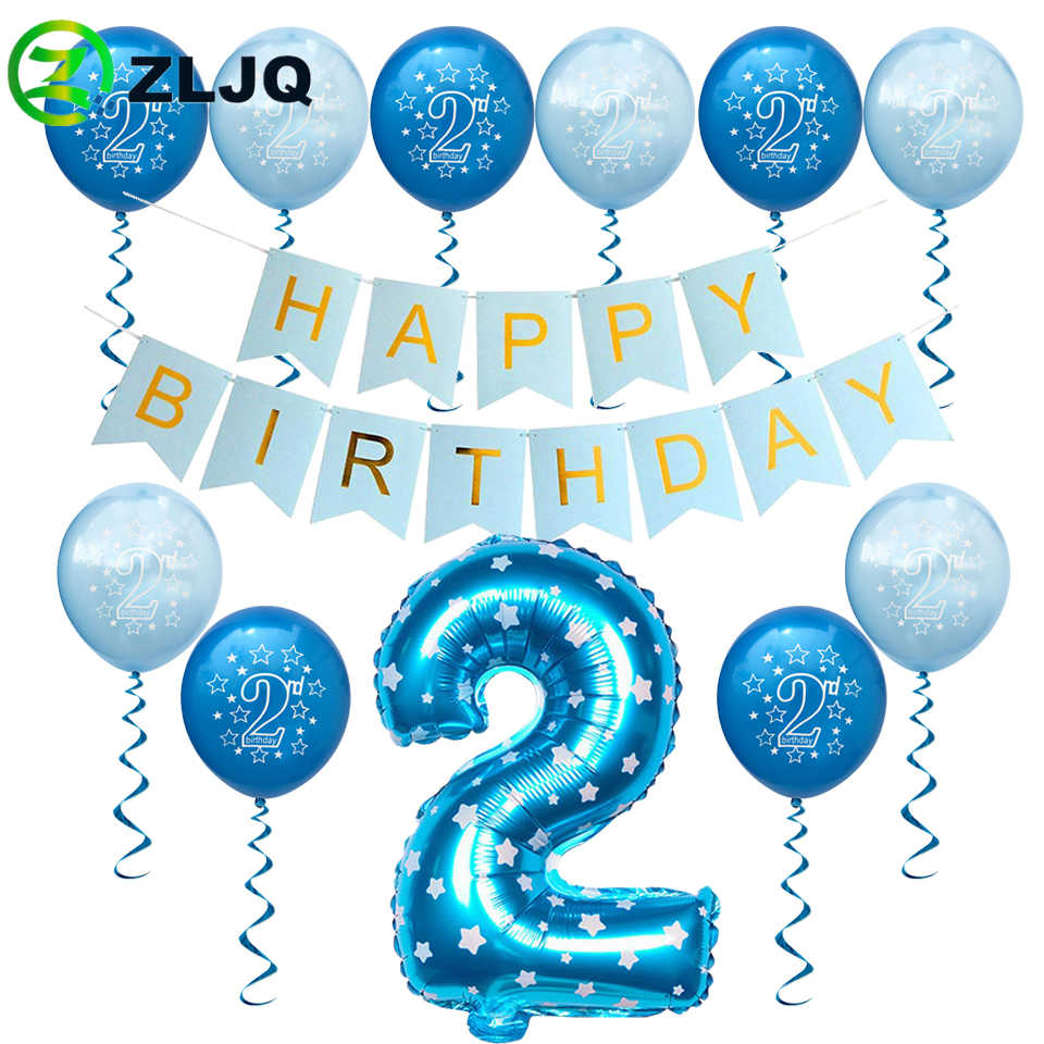 ZLJQ Baby Boy Happy 2nd Birthday Latex Balloons 32inch Number Foil Balloon For 2 Years Old