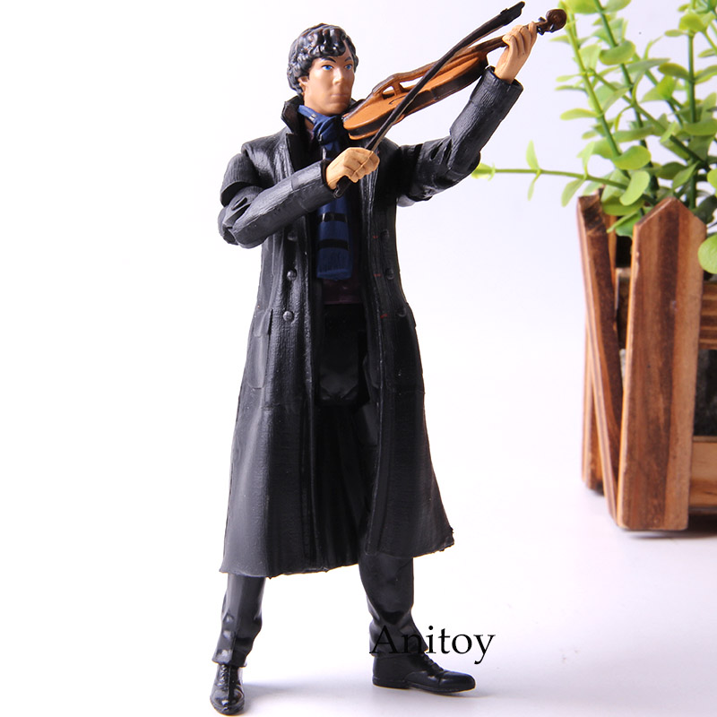 New Poseable Arms 221b Detective Sherlock Holmes Benedict Cumberbatch With Phone Violin Skull 14cm Action Figure Anime Toys Toys & Hobbies