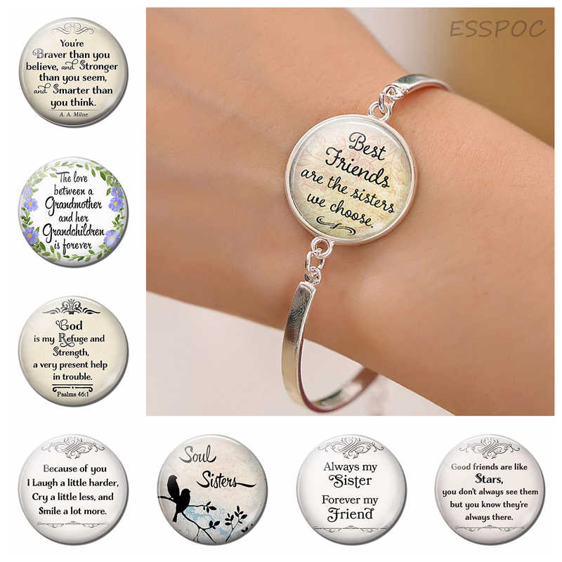 Always My Sister Best Friend Fashion Silver Metal Bracelets Glass Jewelry Friendship Quote Bracelet Sisters Bangle Women Gifts