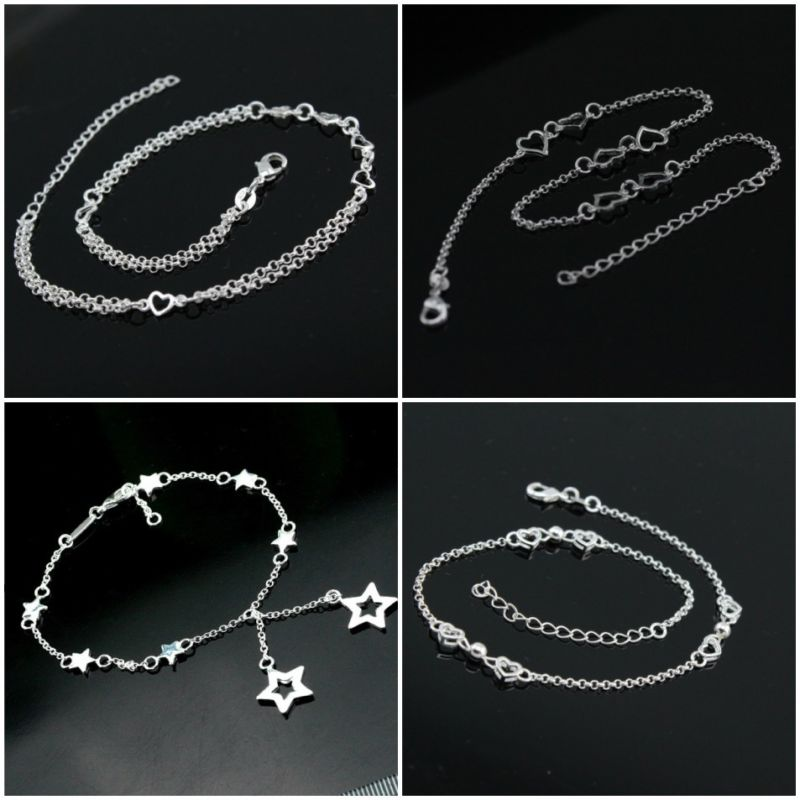 Women Ladies Anklets Foot Chain Heart Star Statement Gift Ankle Bracelet Chain Crystal Foot Jewelry Gift