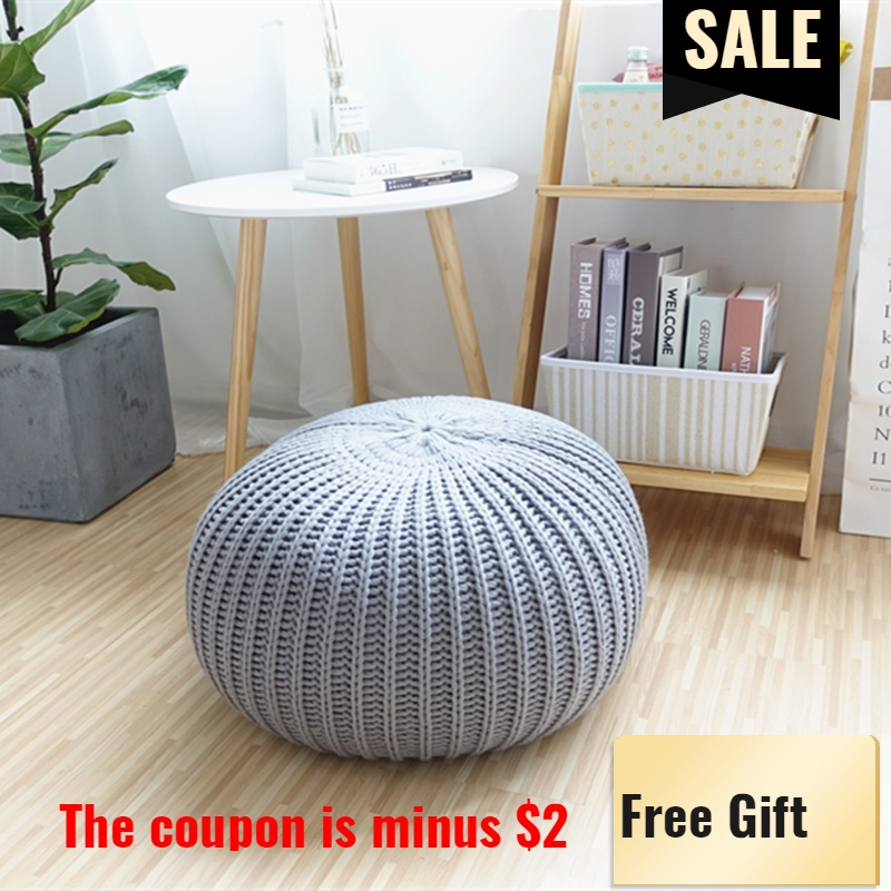 Knitted Pouf And Ottoman Cushion Crochet Poufs For Pouffe Floor Cushions Footstool Floor Pouf New Years Home Gift Decoration INS все цены