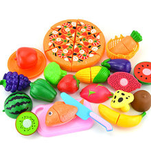 24Pcs/set Plastic Kitchen Food Fruit Vegetable Cutting Toys Kids Pretend Play Educational Toy YJS Dropship baby toys simulation vegetable fruit seafood wooden toys for kids cut set prentend play large food set educational birthday gift