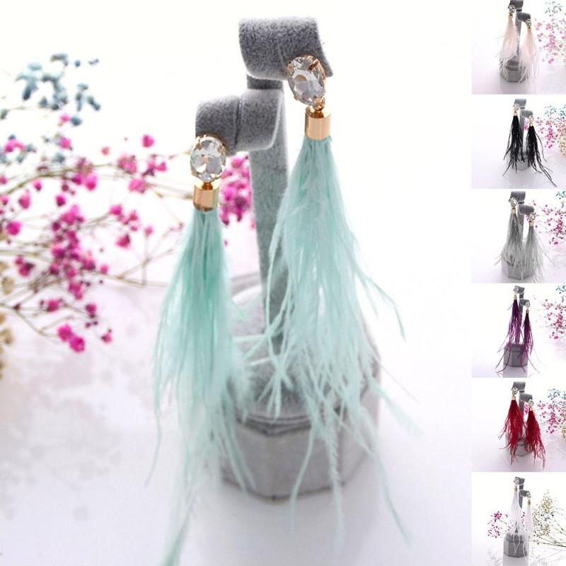 Retro Ancient Long Tassel Drop Earrings Multicolor Earings Fashion Feather Ostrich Hair Metal Flower Palace Party Accessories