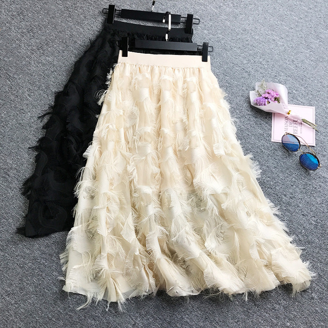 Lông Mô Hình Tua Cao Eo Váy Cơ Sở Cho Thấy Tính Khí Cao Lêu Nghêu Váy Nửa cơ thể Váy Phụ Nữ 2019 Voan