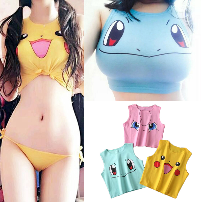2019 Harajuku Sexy Girls Cosplay Costume Pokemon Pikachu Crop Tops Shirt Print Tank Tops Colorful Sleeveless Tee Vest