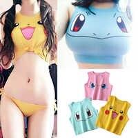 2019 Harajuku Sexy filles Cosplay Costume Pokemon Pikachu Crop hauts chemise imprimé réservoir hauts coloré sans manches t-shirt gilet