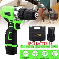 Electric Screwdriver Cordless Drill Wireless Power Driver 12 Volt DC Lithium Ion 1/2 X Battery 2 Speed with suitcase