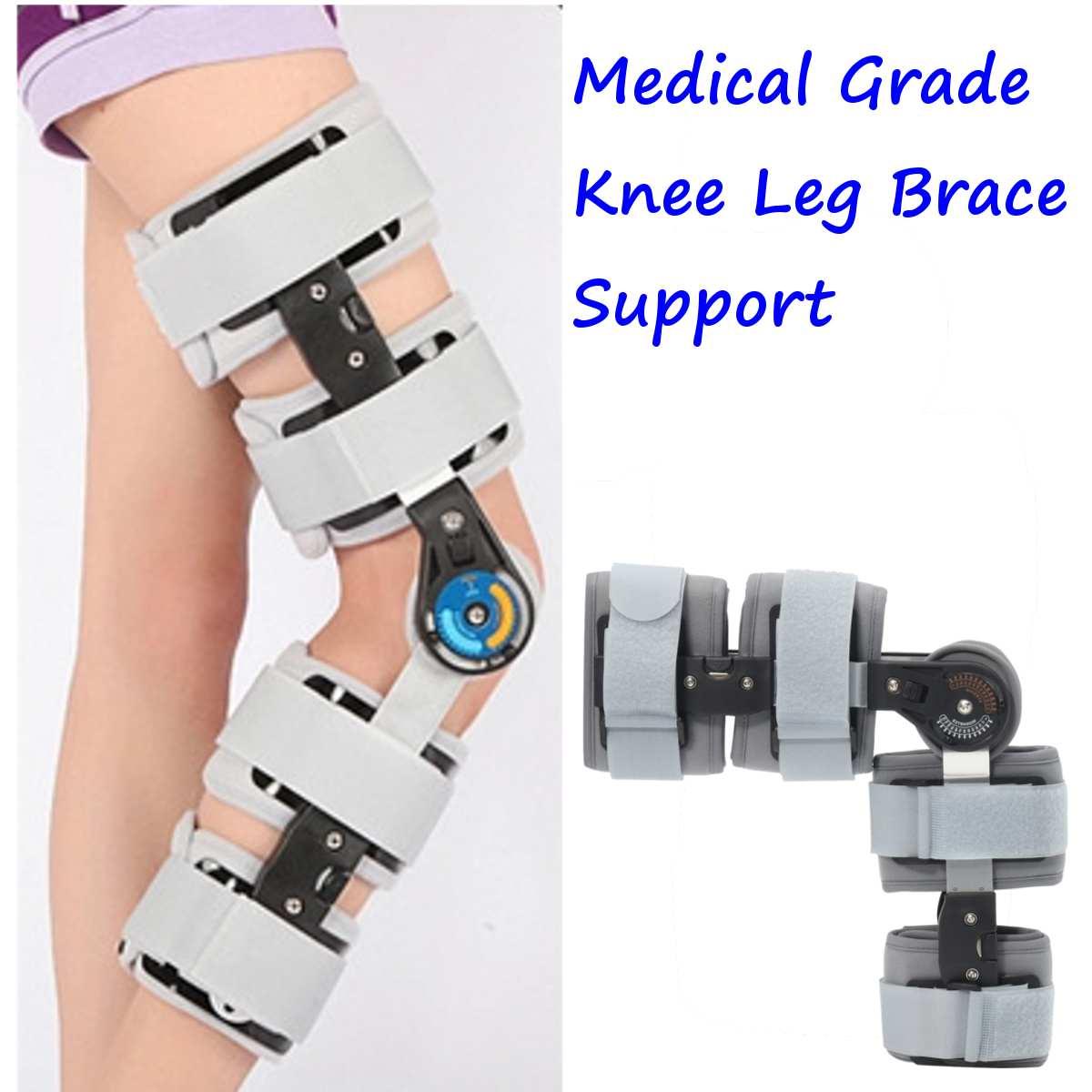 Black/Gray Medical Grade 0-120 Degree Adjustable Hinged Knee Leg Brace Support Protect Knee Ankle Brace Ligament Damage Repair