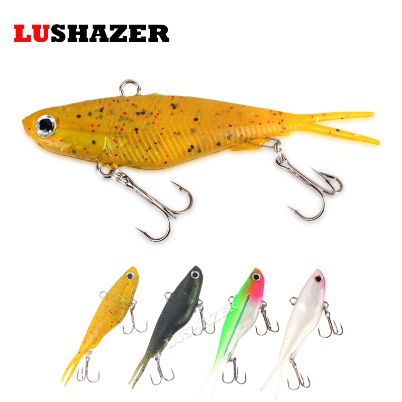 LUSHAZER 2pcs/lot TPR soft fishing lure 20g 36g VIB bait isca soft lures pesca silicone bait winter fishing free shipping trulinoya ray frog style soft plastic fishing lure bait green
