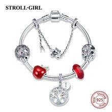 купить Luxury 100% 925 Sterling Silver Snake Chain with cute charms beads original Bracelet Fashion diy Jewelry making for women gift дешево