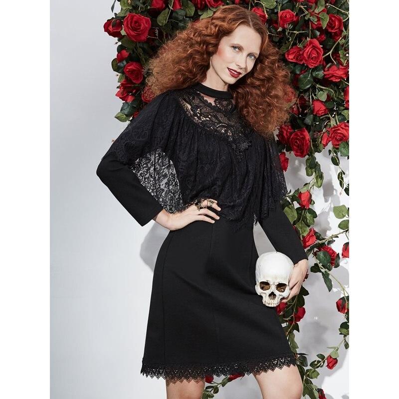 Rosetic gothique dentelle Stan élégant noir femmes robe maille plaine transparent robe de soirée 2019 à manches longues 2xl genou-longueur vêtements