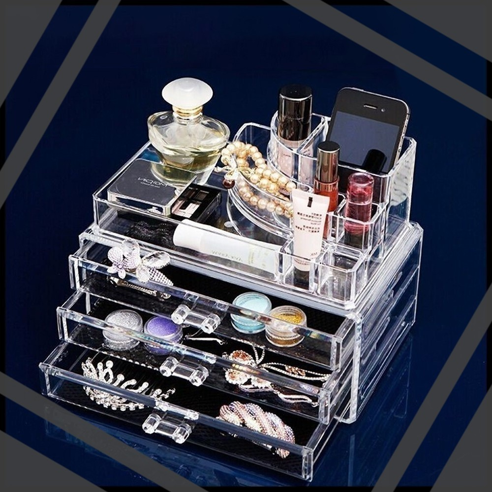 SYU Arrivals Multi-layer large capacity drawer type transparent cosmetic plastic storage box desk accessories