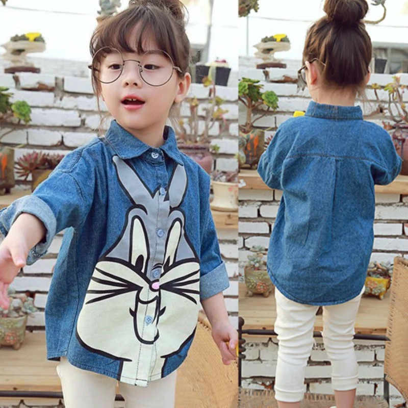 Новинка 2018 г., весенне-осенняя новая детская одежда для маленьких девочек Детская рубашка с милым рисунком кролика модное пальто, рубашка