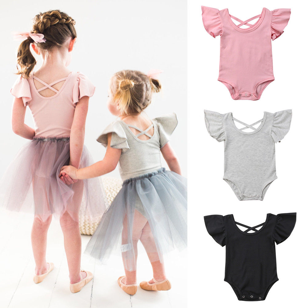 2019 Hot Newborn Infant Baby Girls Back Cross Flying Sleeve Jumpsuit Cotton Solid   Romper   Outfits Sunsuit 0-24M