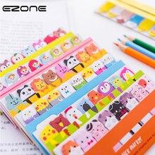 Купить с кэшбэком EZONE Kawaii Cartoon Animals Sticky Note Cat/Dog/Bear Shape Memo Pad Bookmark Sticker School Office Supply Creative Stationery