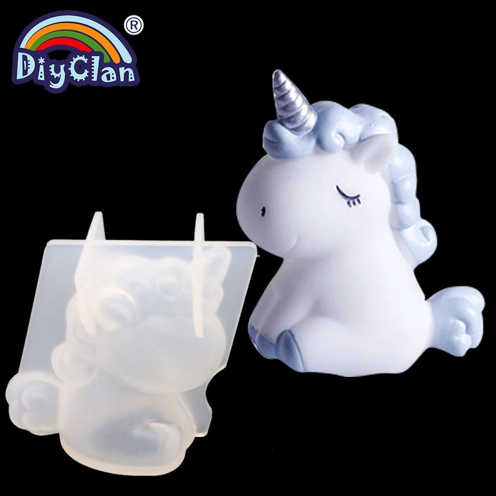 Transparent Unicorn Silicone Epoxy Resin Molds Geometry Bear Rabbit Mould Animal Aromatherapy Candle Making Form Decoration Tool(China)