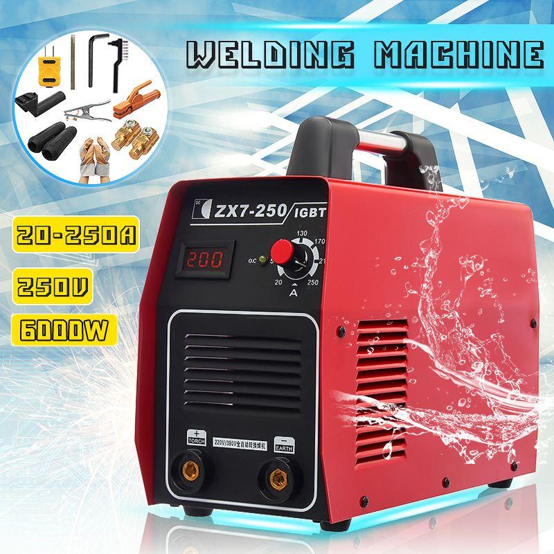 20 250A 6000 Вт мини электрический сварочный аппарат Ручной цифровой дисплей инверторов ММА IGBT DC полная медь W/аксессуары