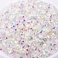 Mix Größen 1440 stücke Transparent Stein SS3-SS30 Klar AB 3D Nagel Strass Flatback Nicht Hotfix Nail Kristall swarovski-kristall