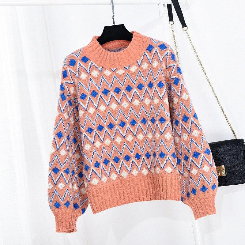 Tricoter Nouvelle Chandail Losange White Tête apricot Date 2018 Haute En Necksleeve Automne Pink De orange Mode Géométrie Qualité blue À 4vqXPzwv1