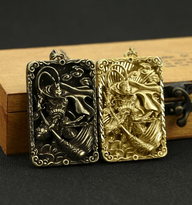 Collection Chinese Brass Carved Monkey King Sun Wukong Exorcise Evil Spirits Card Exquisite Small Pendant Statues