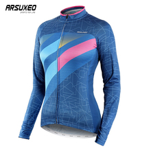 ARSUXEO Long Sleeve Cycling Jersey Sport Clothing Quick Drying Mountain Bike Breathable Bicycle Clothes
