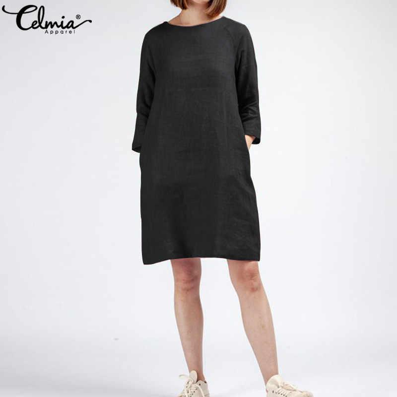 Женское Короткое мини-платье размера плюс, с поясом на талии, с рукавом 3/4, свободный женский сарафан, лето 2019, винтажная льняная рубашка Vestidos