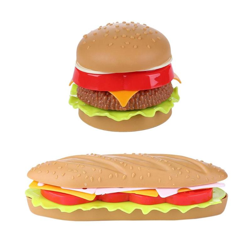 Hot Dog Squishy Charm Bread Strap Fake Hamburger Simulation Decor Hamburger Cake Toy Figure Model Kids Educational Toys Burger