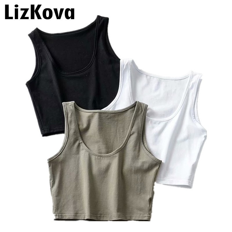 2019 Summer Beach Cropped Tops Sexy Sleeveless T-Shirt Round Neck Vest Solid Color