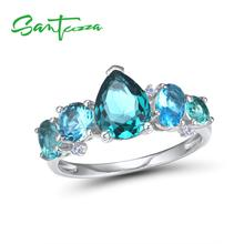 SANTUZZA Silver Rings For Women 925 Sterling Silver Newest Design Shiny Blue Crystal Cubic Zirconia Ring Trendy Fashion Jewelry cheap 925 Sterling CN(Origin) GDTC Fine Pave Setting R306888BGRZSL925 ROUND Wedding Bands Party Rings Silver 925 Metal Rings Women Rings